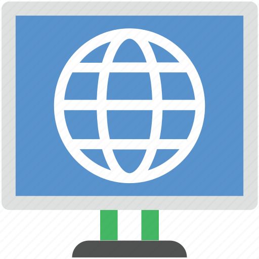 cyberspace, globe, globe screen, internet, lcd screen icon