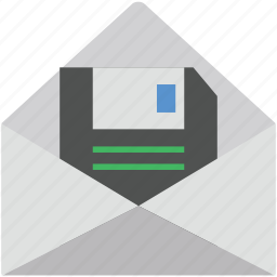 data storage, envelope, floppy, floppy in envelop, mailbox icon