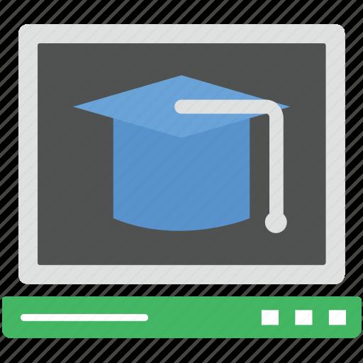 certificate cap, graduation cap, graduation hat, mortarboard, online graduate icon