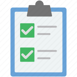 business catalogue, checklist, clipboard, office supplies, tick mark icon