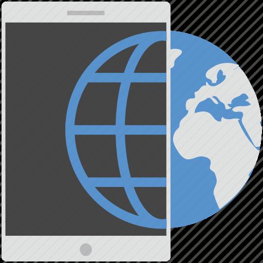 globe, map, mobile, mobile globe, mobile phone icon