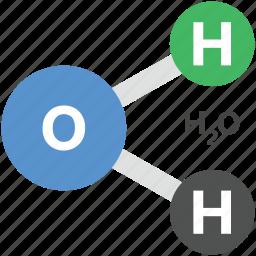 chemistry, h2o formula, hydrogen, liquid, oxygen icon
