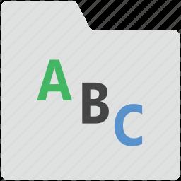 abc, abc letters, alphabets folder, english folder, folder icon