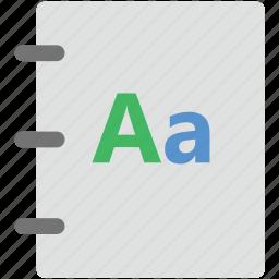 alphabet, english book, english literature, english pad, initial english icon