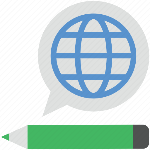 business chat, chat balloon, chat bubble, pencil with bubble, speech bubble icon