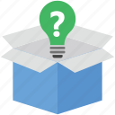 bulb, faq box, package, packed box, parcel icon