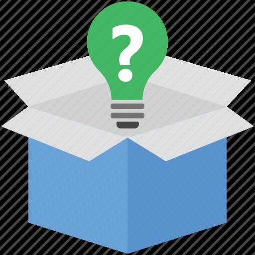 bulb, faq box, package, packed box, parcel icon