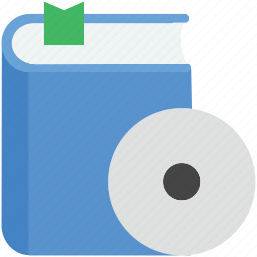 book, cd with book, education, lecture book, video lecture icon