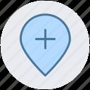 add, location, map, pin, plus, world location