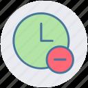 alarm, circle, clock, hours, minus, watch