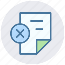 cross, delete, page, paper, reading, sheet icon