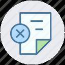 cross, delete, page, paper, reading, sheet