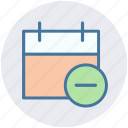 agenda, appointment, calendar, day, minus sign, remove icon