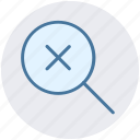 cross, find, magnifier, magnifier glass, search, zoom icon
