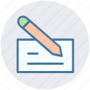 bank check, check, check book, payment, pencil, writing icon