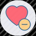 favorite, heart, like, love, minus, romantic icon
