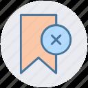 aids, book, bookmark, delete, reject, ribbon icon