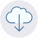 cloud, cloudy, data, down arrow, download, storage, weather icon