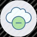 cloud, data, minus, minus sign, remove, storage icon