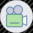 camera, film shot, movie camera, tripod, video, video camera icon