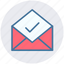 accept, email, envelope, letter, mail, message, open envelope icon