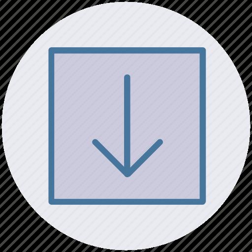 arrow, box, down, forward, material icon