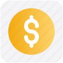 coin, currency, dollar, dollar coin, money icon
