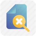 cross, doc, file, page, paper, sheet icon