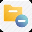 archive, computer folder, file folder, folder, minus, saving folder
