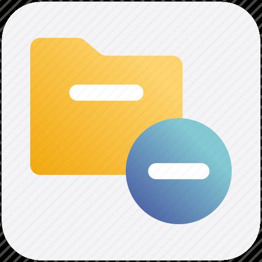 archive, computer folder, file folder, folder, minus, saving folder icon