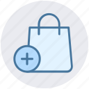 add, bag, fashion, hand bag, plus, purse, shopping bag