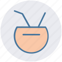 beach, coconut, drink, fruit, summer, tropical icon