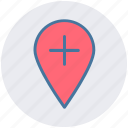 add, location, map, map pin, pin, plus icon
