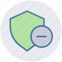 minus, secure, security sign, shield, sign icon