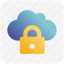 cloud, cloudy, data, lock, locked, secure