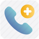 add, communication, phone, phone receiver, plus, receiver, telephone icon