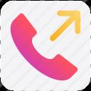 arrow, call, calling, outgoing, receiver, telephone icon