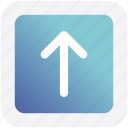 arrow, box, forward, material, up icon