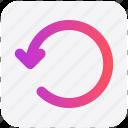 arrow, circle, left, line, rotate icon