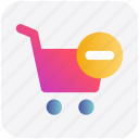 cart, ecommerce, minus, remove, shopping, shopping cart icon