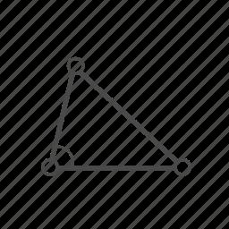 angle, figure, geometry, path tool, shape, triangle, vector tool icon