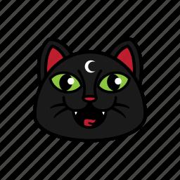 avatar, cat, face, night, smile icon