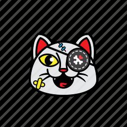 avatars, cat, face, pirate, smile icon