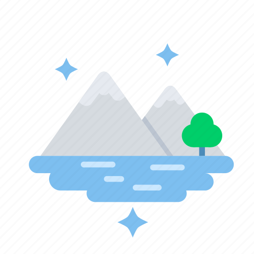 landscape, mountain, nature, peaceful, river, view icon
