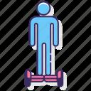 board, hover, hoverboarding, man icon