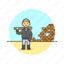 baseball, bat, demolish, destroy, gang, man, urban, wall icon