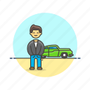 automobile, car, drive, man, transport, urban, vehicle icon