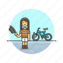 bike, cyclist, transport, travel, urban, vehicle, woman icon