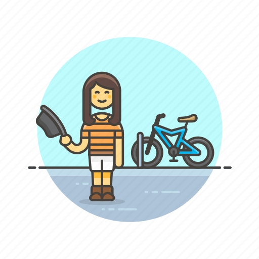 bike, cyclist, transport, travel, urban, vehicle, woman icon