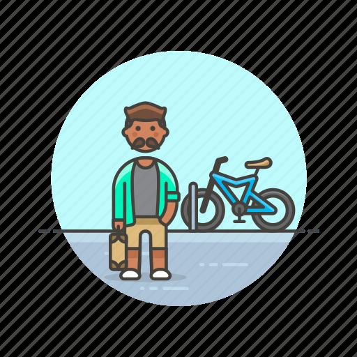 bike, cyclist, man, ride, road, transport, urban icon